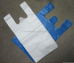 HDPE white and blue color t shrit market carry plastic bag