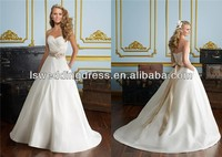 WD2864 White taffeta sweetheart neckline handmade flower champagne sash ball gown simple cheap sweep back button wedding dress