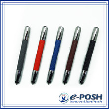 Protable touch screen advertising metal stylus color leather warpped gift pen set