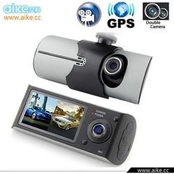"""2015 New arrivals Dual Camera lens gps car dvr X3000 R300 HD 720P 140 Degree Lens Radio Recorder Car Camera 2.7"""" LCD Screen"""