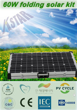 60w 12v solar battery charger camping portable solar folding panel/18V folding solar kit/panel for laptop, battery