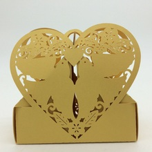 2015 Laser Cut Paper Yellow Love Birds Heart Irregular Shape sweet box,Chocolate packaging box,European candy box wholesale