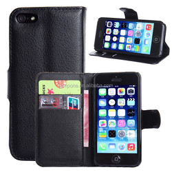 Fashion Litchi Pattern Lychee design Credit Card Wallet Stand Flip leather case for Apple iPhone 5 5S 5G