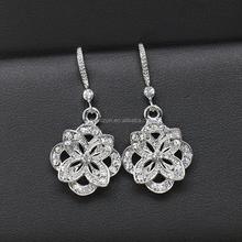 2016 Hot Sale Flower Dangle Earrings Female Silver Earring Women Fashion Jewelry with High Quality AAA Zircon Free Shipping