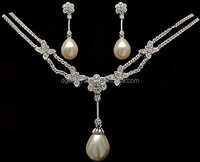 Hot sell cheap bridal faux pearl necklace earrings set