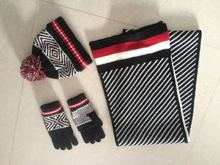 2015 New Arrival Unisex winter Acrylic Knitted Hot Selling knitted hat scarf glove set