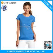 High Quality New Fashion Personized Women Tshirt 100% Cotton 90/10 Cotton/Spandex Tshirt