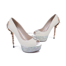 Sexy Animal Platform Heels for Women, Strass and Pearls Bridal Heels for Wedding Party