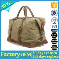 Grey PU handled felt fancy mens travel duffel bag