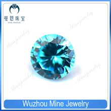 wuzhou round shaoe aquamarine CZ loose zirconia stone