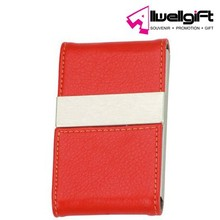 red color PU Leather Surface Stainless Steel Business Card Name Card Case