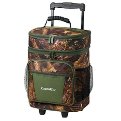 600D polyester oak camo insluated 30 Can Camo trolley Rolling Cooler bag
