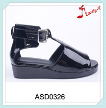 Shiny upper hot sale low price lady comfort flat thick sole buckle up sandals