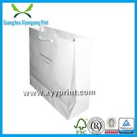 Fancy Eco-friendly white kraft paper shopping bags for brand clothing, paper shopping bags with paper handle