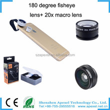 New product factory rent in china, Apexel 180 clip universal fisheye lens with 20x macro lens for sansung galaxy s6
