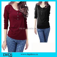 T shirt asia dq t shirt Fashion O Neck Button Decoration 95 cotton 5 spandex t shirts wholesale for women