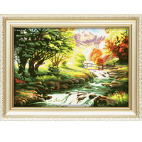 2015 autumn creek on the foot of hills trees landscape oil painting