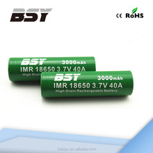 Battery recycling BSY 18650 3.7v 3000amh 40a discharge rechargeable battery