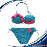 Sexy Neoprene Bikini Set Swimsuits Push up Bathing Suit Top Bottom