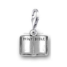 religiosos baratos de plata antigua plateado abierto santa biblia encantos joyería con broche de langosta