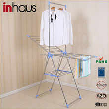 2015 Butterfly shape stainless steel folding portable hanging bathroom clothes rack for clothes