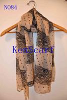 Top Fashion 2015 New Fashion Women Stylish Polyester Chiffon printing lace and dot Long Scarf