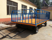Airport luggage trailer with Drawbar / Flatbed Loading Deck and Side Fence