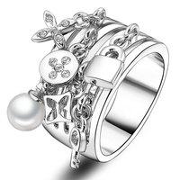 jewelry wholesale flower cross link chain shape pearl gold cheap key ring