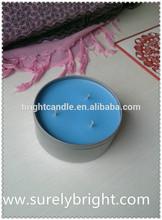 azul real decoración de la boda 3 mechas de estaño velas de citronela
