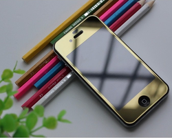 "Plated Anti-Scratch Colorful Metal Tempered Mirror Glass Screen Protector Film For Apple iPhone 6 4.7"" Inch Front & Back Film"