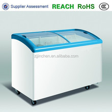 Chest freezer glass door injected outer frame and glass