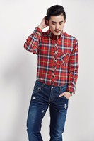 2015 Red check style latest fancy dress shirts for men