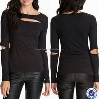 Round neck cutting out long sleeve fashion designing ladies shirts and top blouses casual tops cut out slim long sleeve