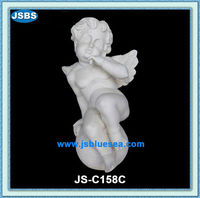White Stone Carving Sitting Winged Baby Angel Statue
