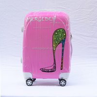 Morden Heel Printed ABS and PC Hard Suitcase with Trolley