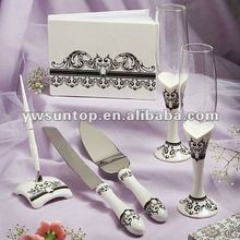 wedding guest book/ Pen/ Cake Knift/ Sever/ Toasting Flutes Set decoration favors gifts