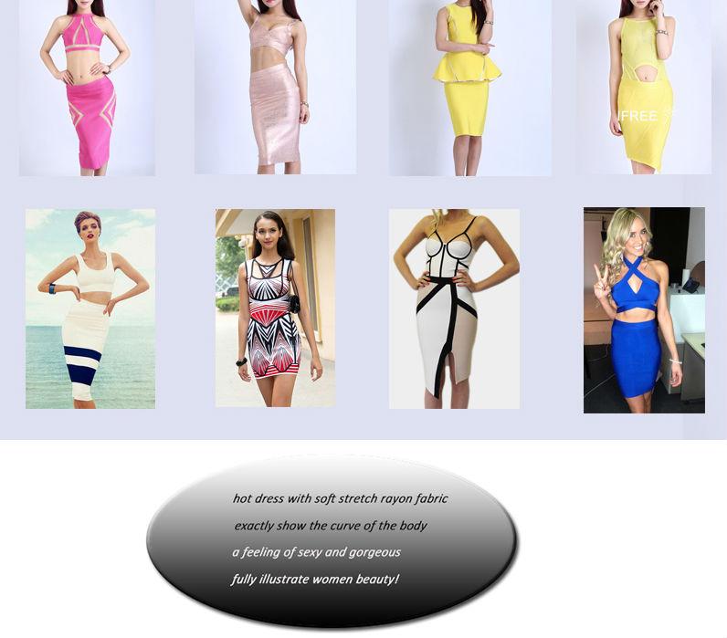 Hot sale red women dresses sexy deep V shape bandage dress 2014 fashion design