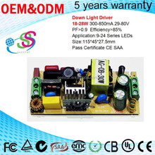 9-24S CE SAA 18-28W LED Driver 300mA 350mA 500mA 600mA 700mA 800mA 850mA Output Current for option