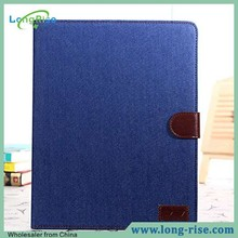 Wholesale Jeans Cloth Leather Wallet Flip Smart Wake Sleep Case for iPad 2 /3 / 4