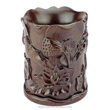 2015 Yazhixuan Quality Product Wood Carving Ebony Lotus Pen Holder for Decoration