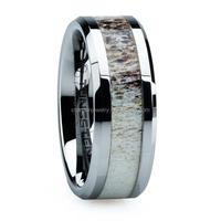 Real Antler inlay titanium Ring