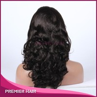 Premier Hair alibaba express 18inch Natural Color 100% Brazilian Human Hair Beyonce Big body wave Silk Base Full Lace Wig