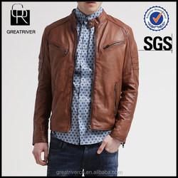 hot sale american style brown faux leather men jacket motorcycle