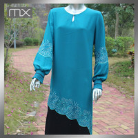 New Style Neck Work Design Embroidery Ruffle Sleeves High Fashion Abaya