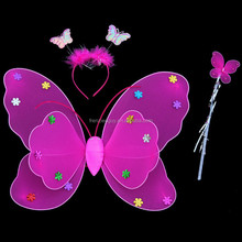 Girls Fairy Double hot pink Butterfly Wing with Wand & Headband Set