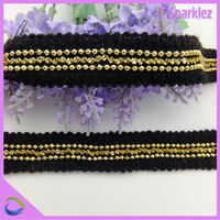 Metal Round Beaded Fabric Sew on Lace Trims for Sale