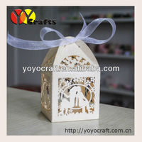 Custom size and colors laser cut wedding favor boxes with ribbon of wedding party decoration from YOYO crafts