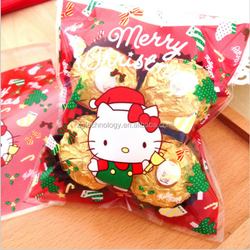 100 Pcs Xmas Kitty Pastry Christmas Party Favors Cookie Gifts Self-Adhesive Plastic Bags