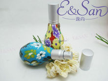 R21 20ML Wholesale Fimo Flower Carving Vase With Aluminium Cap Glass Refill Empty Perfume Aluminium Atomizer Spray Bottle