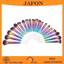 Custom rainbow color makeup brush set, neon makeup brush with white handle